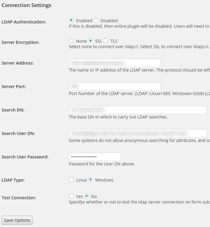 LDAP connection settings