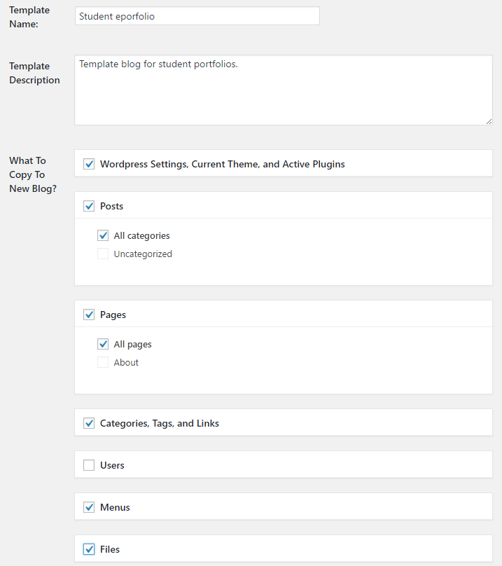 Blog template options