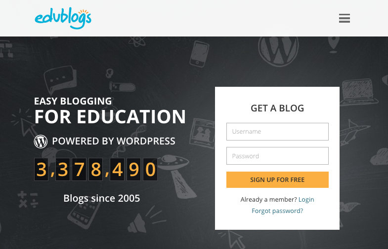 Edublogs home page
