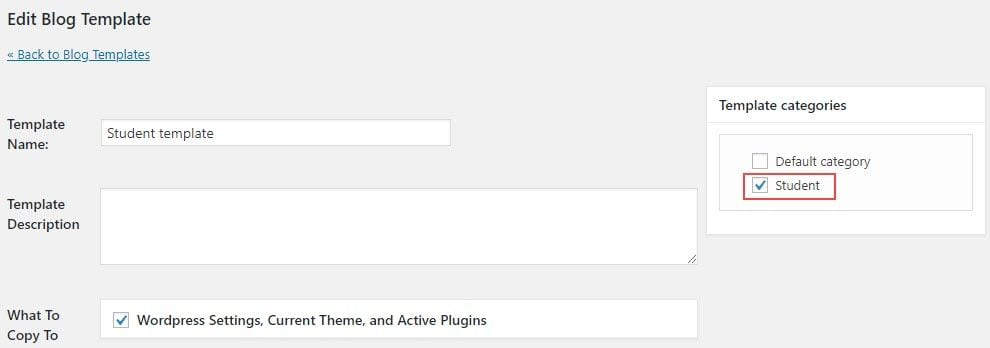 Template category on a template blog