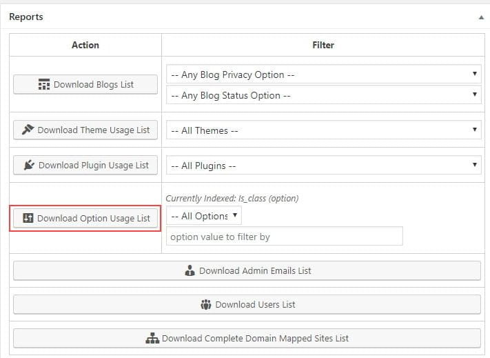 Options usage list