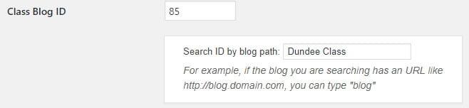 Add class blog ID